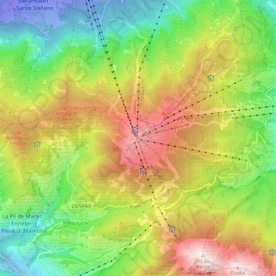 Kronplatz topographic map, relief map, elevations map