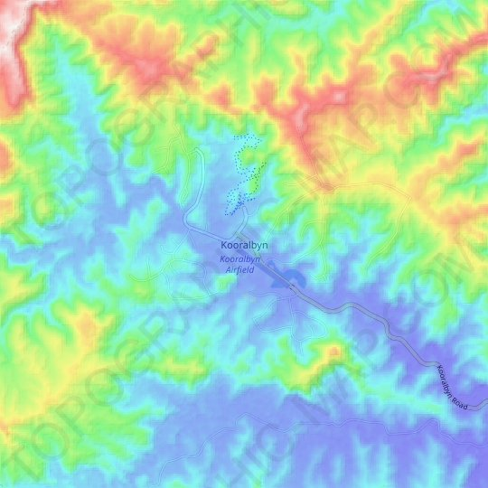 Kooralbyn topographic map, relief map, elevations map