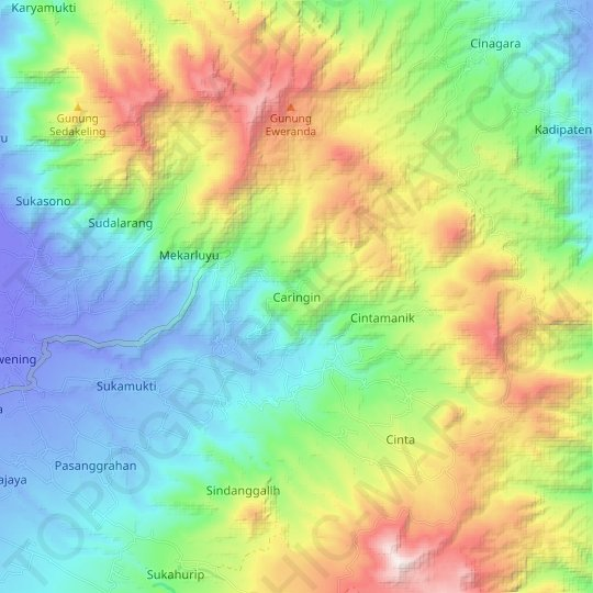 Caringin topographic map, relief map, elevations map