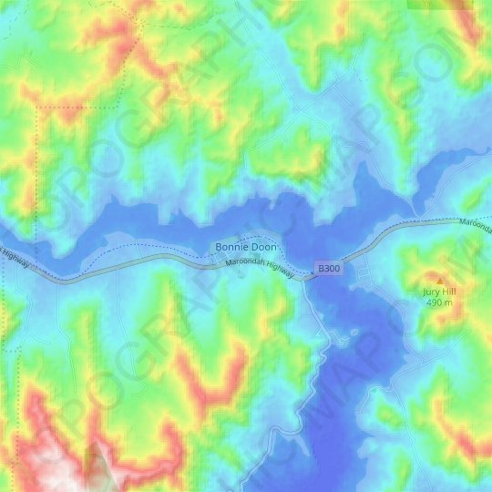 Bonnie Doon topographic map, elevation, relief