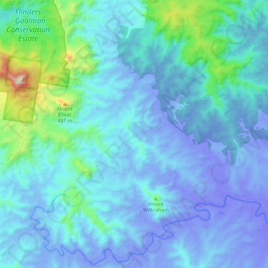 Undullah topographic map, relief map, elevations map