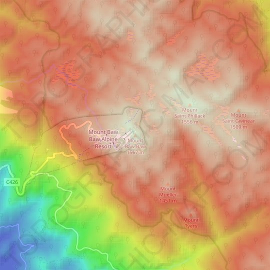 Mount Baw Baw topographic map, relief map, elevations map