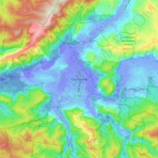 Gellibrand topographic map, relief map, elevations map