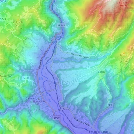 Biagi topographic map, relief map, elevations map