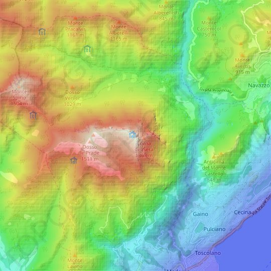 Monte Pizzocolo topographic map, elevation, relief