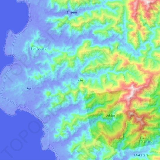 Rae topographic map, relief map, elevations map