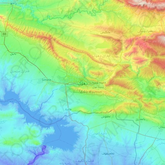 Duhok topographic map, elevation, relief