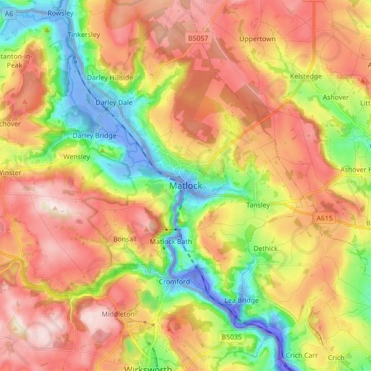Matlock topographic map, relief map, elevations map