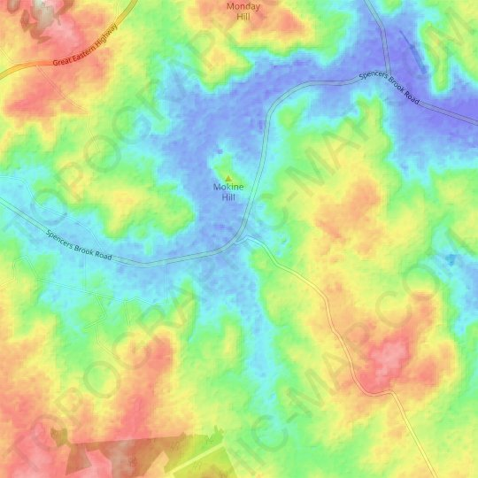 Mokine topographic map, relief map, elevations map