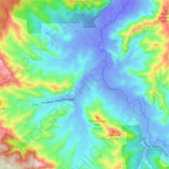 Strath Creek topographic map, elevation, relief