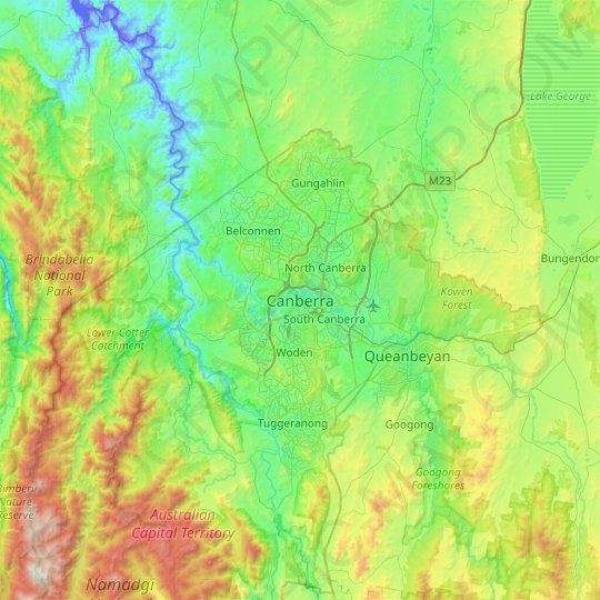 Canberra topographic map, elevation, relief