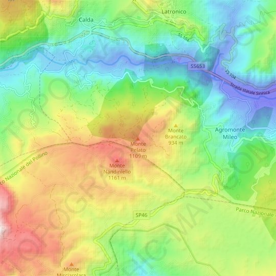 Monte Pelato topographic map, relief map, elevations map