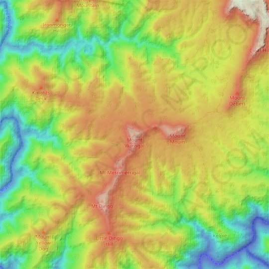 Mount Warrigal topographic map, relief map, elevations map