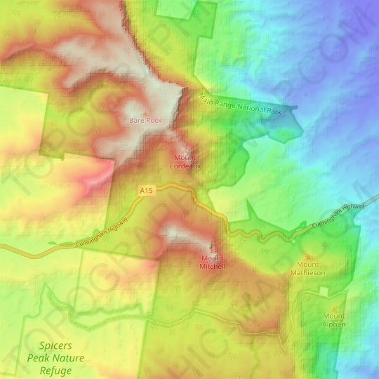 Cunninghams Gap topographic map, relief map, elevations map