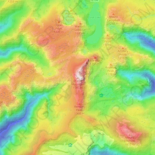 Cradle Mountain topographic map, elevation, relief