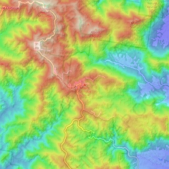 Mount Glorious topographic map, elevation, relief