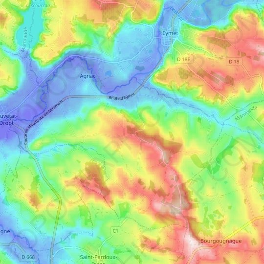 Monfrange topographic map, relief map, elevations map