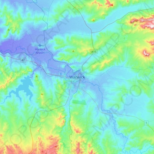 Warwick topographic map, relief map, elevations map