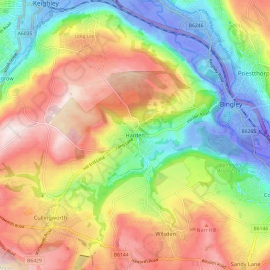 Harden topographic map, relief map, elevations map