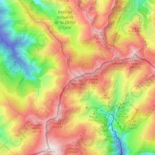 Pic de Finestrelles topographic map, relief map, elevations map