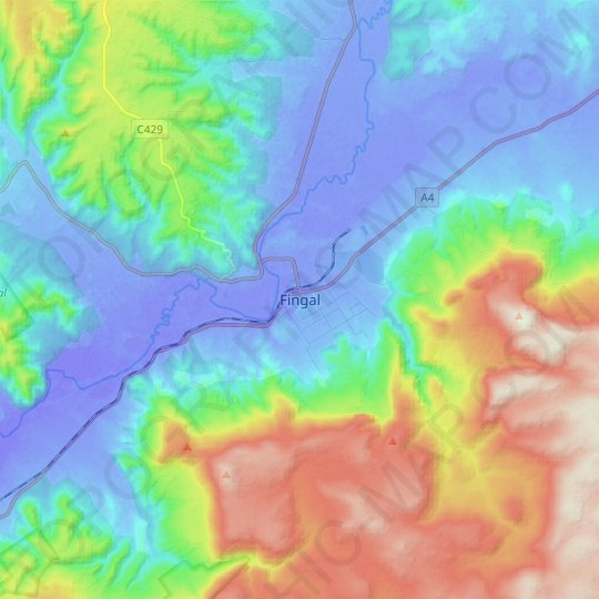 Fingal topographic map, elevation, relief
