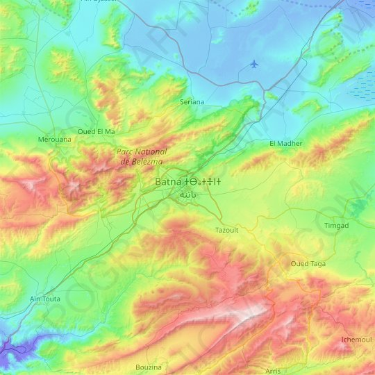 Batna topographic map, relief map, elevations map