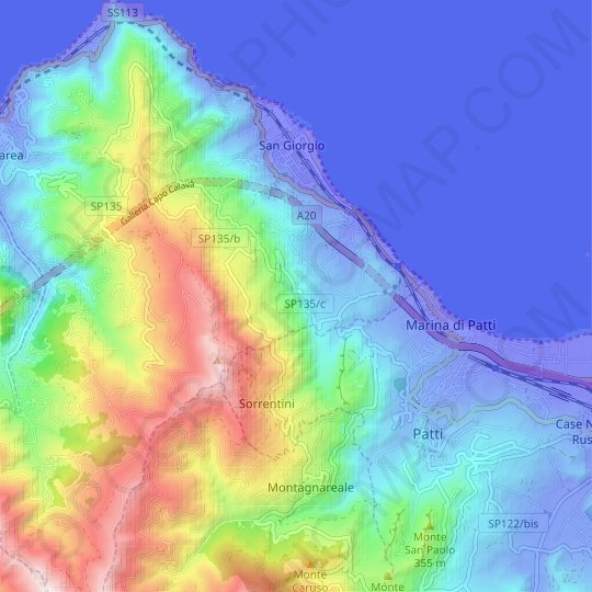 Acquasanta topographic map, relief map, elevations map