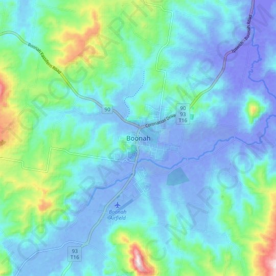 Boonah topographic map, relief map, elevations map