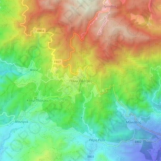 Pano Platres topographic map, relief map, elevations map