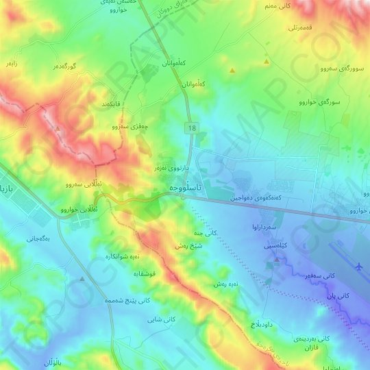 Tasluja topographic map, relief map, elevations map