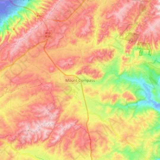 Mount Compass topographic map, elevation, relief