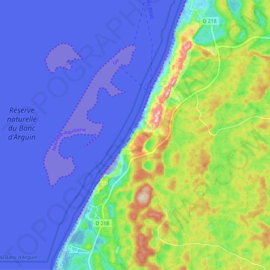 Dune of Pilat topographic map, relief map, elevations map