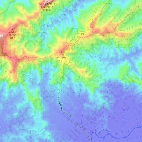 Tomewin topographic map, relief map, elevations map