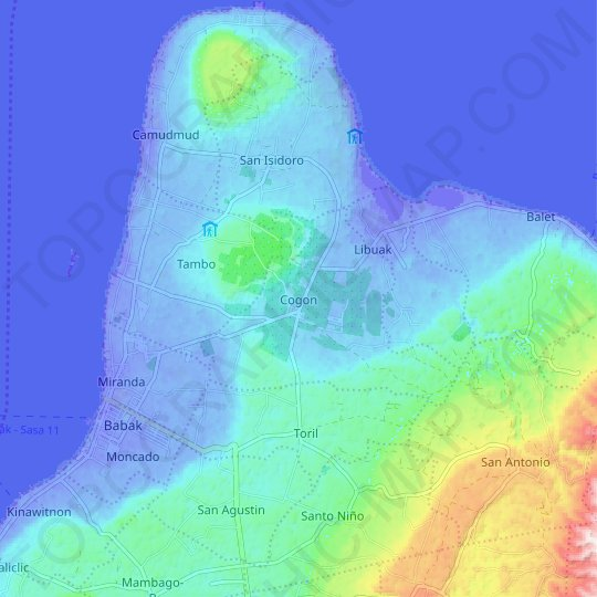 Cogon topographic map, relief map, elevations map