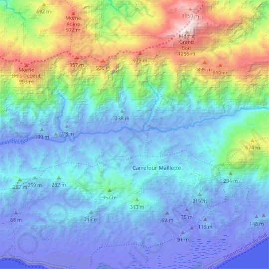 Monto topographic map, relief map, elevations map