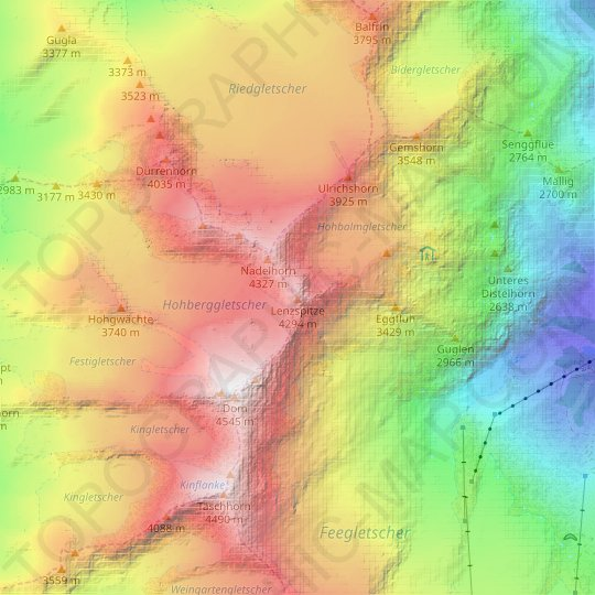 Lenzspitze topographic map, relief map, elevations map