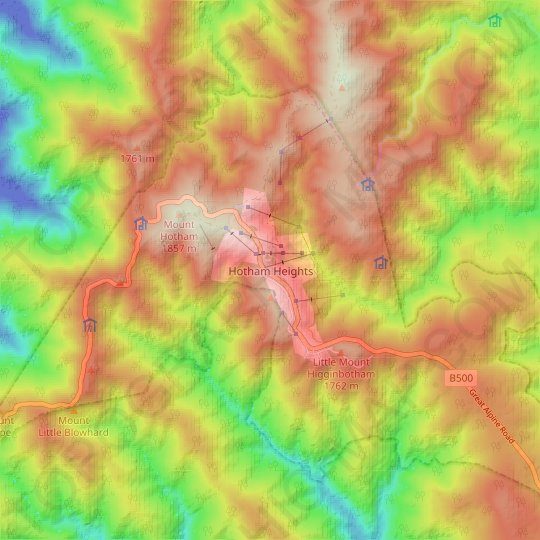 Hotham Heights topographic map, elevation, relief