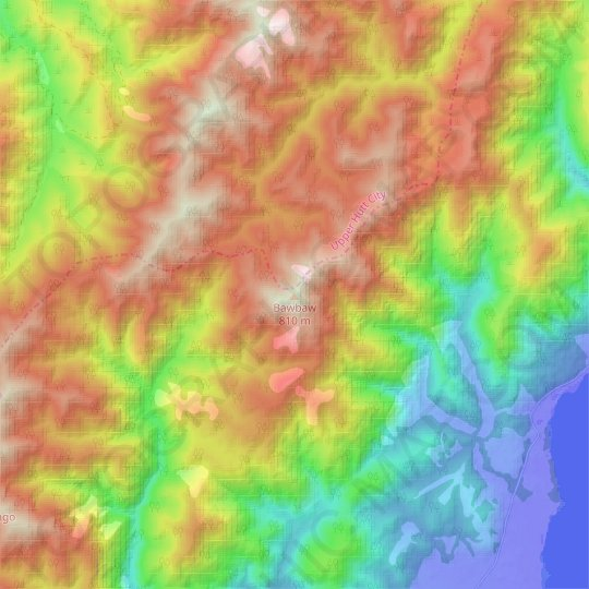 Bawbaw topographic map, relief map, elevations map
