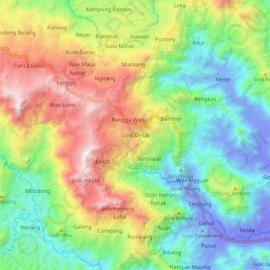 Golo Desat topographic map, relief map, elevations map