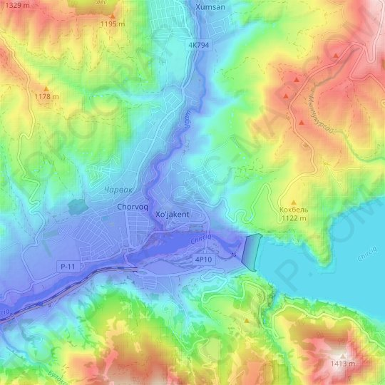 Beshtut topographic map, relief map, elevations map