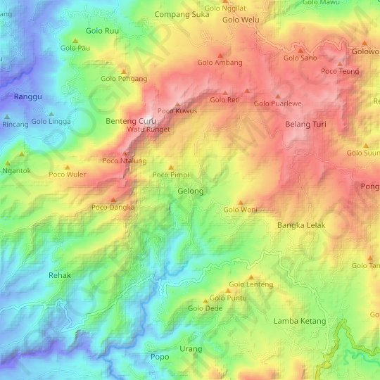 Gelong topographic map, relief map, elevations map