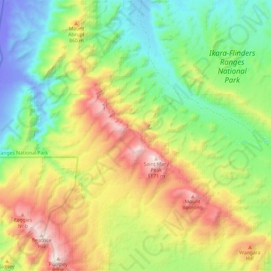 Flinders Ranges topographic map, elevation, relief