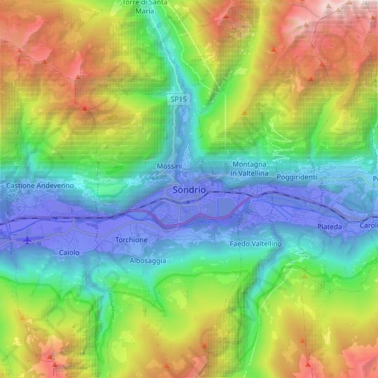 Sondrio topographic map, relief map, elevations map