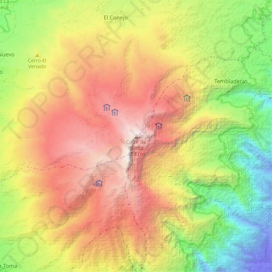 Cofre de Perote topographic map, relief map, elevations map