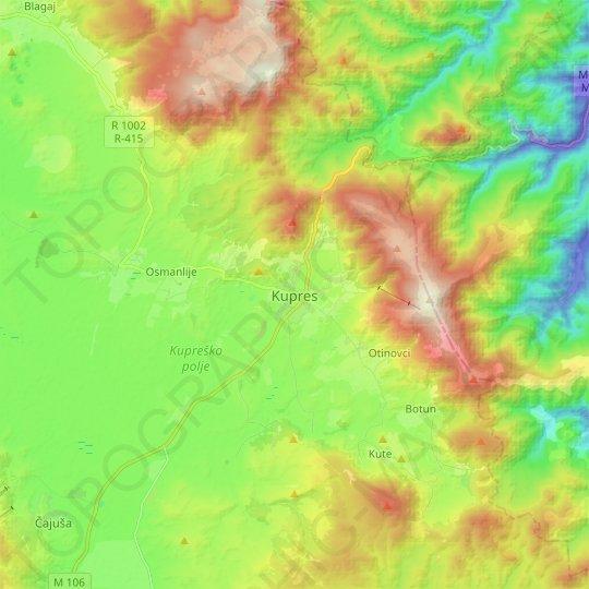 Kupres topographic map, relief map, elevations map