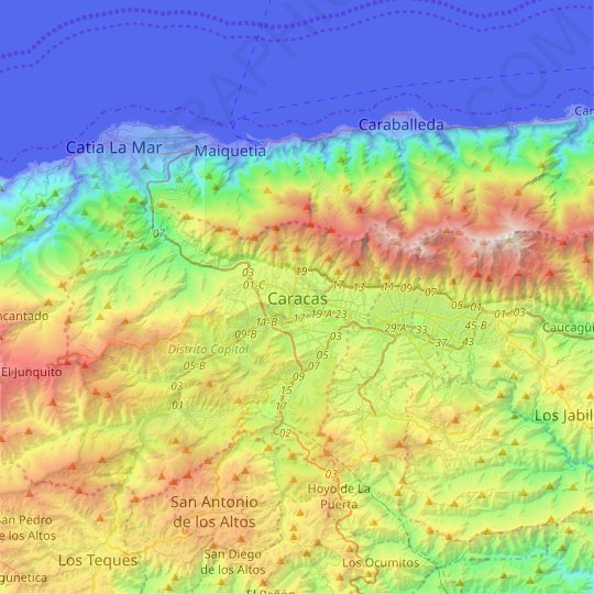 Caracas topographic map, relief map, elevations map
