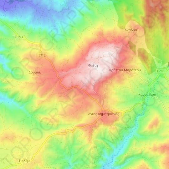 Milia topographic map, relief map, elevations map
