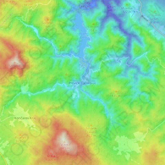 Plitvički Ljeskovac topographic map, relief map, elevations map