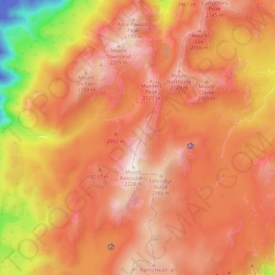 Snowy Mountains topographic map, elevation, relief
