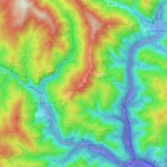 Japeň topographic map, relief map, elevations map